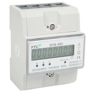 DTS-353, 3 fase kWh meter 100A LCD
